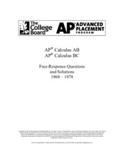 AP Calculus Free-Response Questions and Solutions 1969-1978