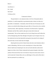 5th generation paper on Communism in Movies