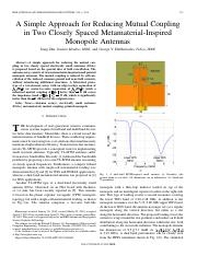 A Simple Approach for Reducing Mutual Coupling in Two Closely Spaced Metamaterial-Inspired Monopole