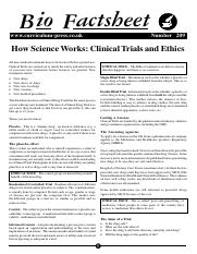 209 How Science Works - Clinical Trials and Ethics