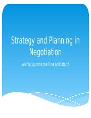 Negotiation - Planning in Negotiation