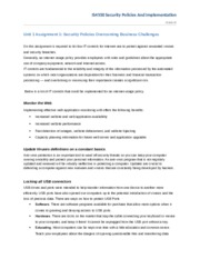 Unit 1 Assignment 1 Security Policies Overcoming Business Challenges
