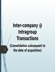 Topic 1.5 Inter-company Transactions
