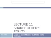 Lecture 11 Shareholder's Equity