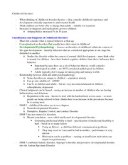 Childhood Disorders Outline