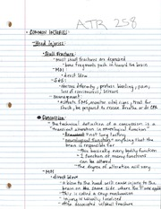 ATR 258 Common Injuries Notes