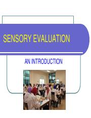 Lecture 1. Introduction to Sensory Evaluation