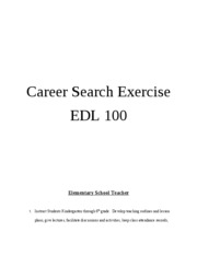 Career Search Exercise