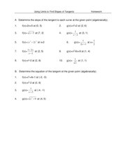 Worksheet - Limits and Slopes of Tangents