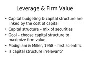 FINA 5311-17 Leverage and Firm Value