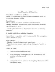 PHIL 1100 Ethical Naturalism & Objectivism Notes