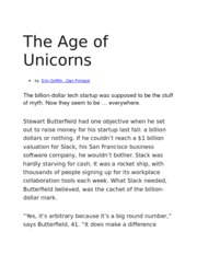 The Age of Unicorns