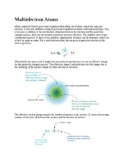 Lecture Note - Multi-Electron Atoms