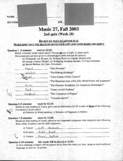 Music 27 - Fall 2003 - Moroney - Quiz 2