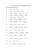 Balancing Equations and Stoichiometry Worksheet - Balancing ...