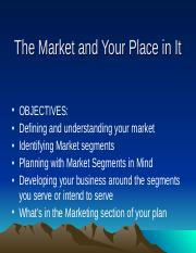 Lesson VI The Market and Your Place in It