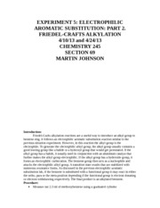 experiment alkylation The friedel–crafts reactions are a set of reactions developed by charles friedel and james crafts in 1877 to attach substituents to an aromatic ring friedel–crafts reactions are of two main types: alkylation reactions and acylation reactions both proceed by electrophilic aromatic substitution.