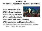 Chapter 17- Additional Aspects of Aqueous Equilibria