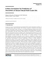 A New Correlation for Prediction of Viscosities of Omani Fahud-Field Crude Oil