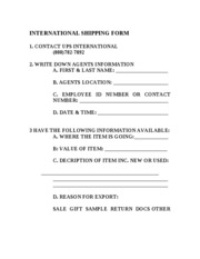 INTERNATIONAL SHIPPING FORM