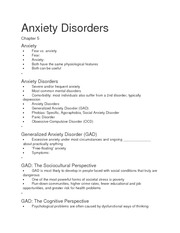 Anxiety Disorders Ch 5 notes