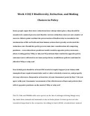POL 310 Week 4 DQ 2 Biodiversity Extinction and Making Choices in Policy.doc