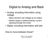 Lecture Notes on Digital to Analog and Back