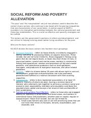 SOCIAL REFORM AND POVERTY ALLEVIATION