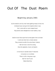 Out Of   The  Dust  Poem