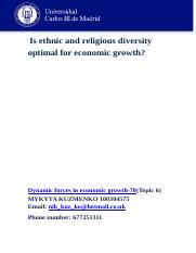 Dinamic growth essay Is ethnic and religious diversity     optimal for economic growth.docx