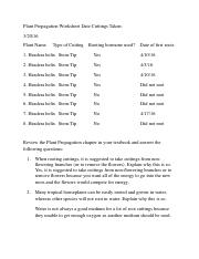Asexual plant propagation worksheet