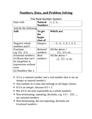 Numbers, Data, and Problem Solving Notes
