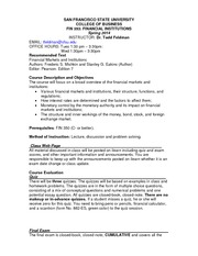 Syllabus FIN 353 Spring 2014 Tuesday Revised