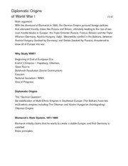Lecture Notes (2.2): Diplomatic Origins of WW1-National Socialist Rule