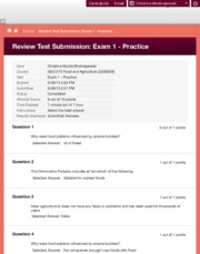 Review Test Submission: Exam 1 - Practice – GEO 315 Food...