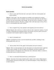 unit two questions hospitality and tourism...