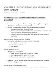 CHAPTER 8 - DECISOIN MAKING AND BUSINESS INTELLIGENCE