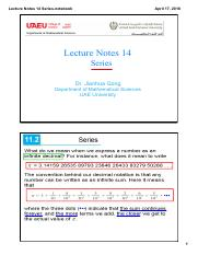 Lecture Notes 14 Series