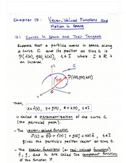 Ch.13- Vector Valued Functions and Motion in Space