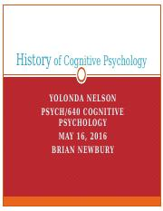 PSYCH 640 - Week 1 - Individual - History of Cognitive Psychology Lecture