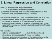 9. Regression and correlation