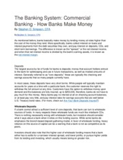 The Banking System  Commercial Banking How Banks Make Money