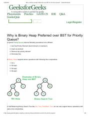 Why is Binary Heap Preferred over BST for Priority Queue_ - GeeksforGeeks