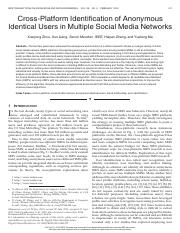 Cross-Platform Identification of Anonymous Identical Users in Multiple Social Media Networks