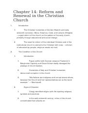 Reform and Renewal in the Christian Church.docx