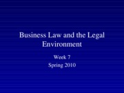 Spring 2010 Business Law and the Legal Environment - Week 7