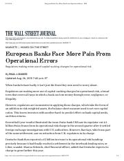 European Banks Face More Pain From Operational Errors - WSJ.pdf
