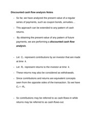 Discounted cash flow analysis Notes