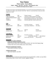 Acting Resume Template 1 3