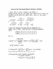 Answers to Stat 130A Sample Midterm I Questions - Fall 2014